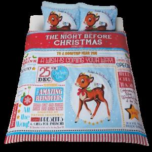 Bedding Heaven® Night Before Christmas Duvet Cover Christmas Eve,  Single Bed.