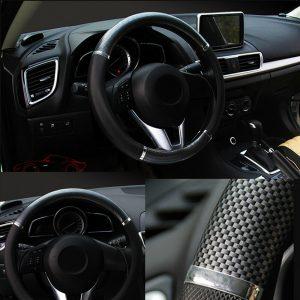 Black 38cm Universal Carbon fiber Leather Steering Wheel Cover Car Accessories