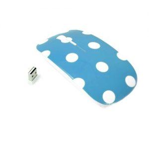 Blue Polka Dot Design USB Optical Wireless Mouse for All Macbooks & Laptops