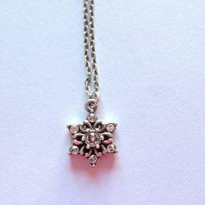 Brighton Artica  Necklace -silver color -petite snowflake-clear crystals