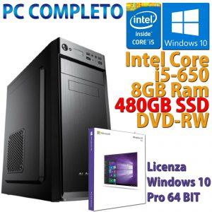 COMPUTER ASSEMBLATO NUOVO PC FISSO DESKTOP CORE i5-650 RAM 8GB SSD 480GB WIN 10