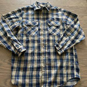 Carhartt Rugged Outdoor Wear Button Up Flannel Shirt XL Blue Gray Work Wear EUC