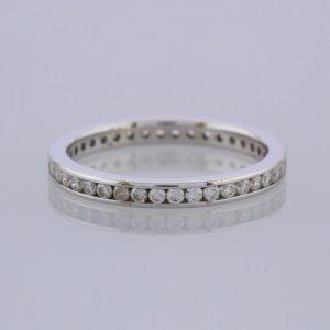 Channel Set Diamond Full Eternity Ring 18ct White Gold Size L 1/2