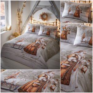 Christmas Bedding Xmas Traditional Twilight Santa Snow Duvet Quilt Cover Set