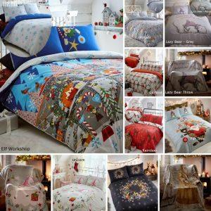 Christmas Duvet Cover Bedding Bed Set Xmas Reindeer Unicorn Elf Festive