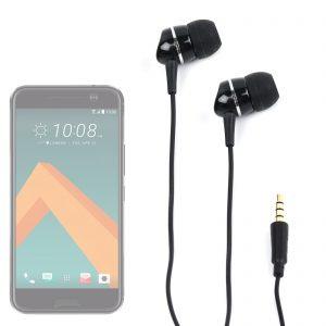 Comfortable Black In-Ear Headphones for HTC 10 Smartphone