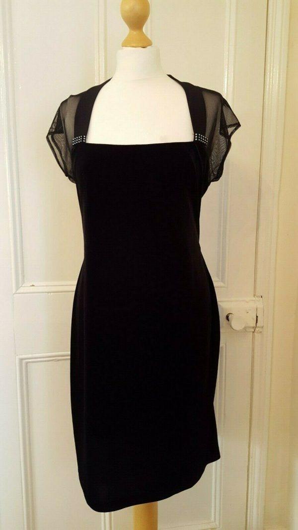 Connected Apparel Black Velvet Dress Size 14 Diamante Detail