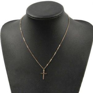 Cross Pendant Necklace Collier Femme Gold Color