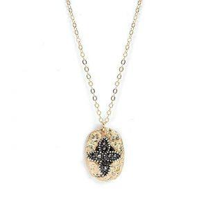 Cross Rustic Oval Rhinestone Pendant Necklace