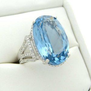 DIAMOND BLUE TOPAZ RING DESIGNER M CHRISTOFF