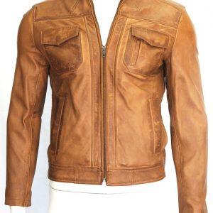 David Men's Gents Tan Designer Fashion Napa Soft Lambskin Washed Leather Jacket