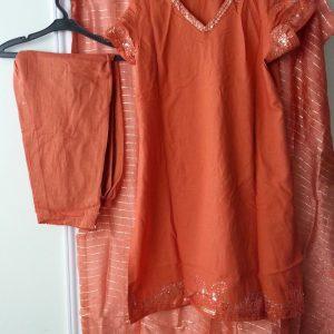 Designer Latest Fashion Semi Formal Dress Shalwar Kameez Duppata Orange Color