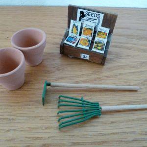 Doll House   Garden Equipment  Seed Rack  Rake & Hoe  Clay Pots