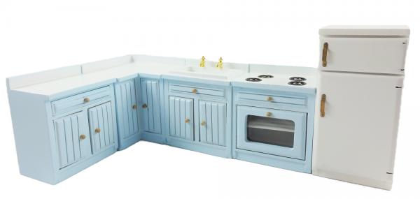 Dolls House Pale Blue Fitted Kitchen Furniture Set Miniature Units & Appliances