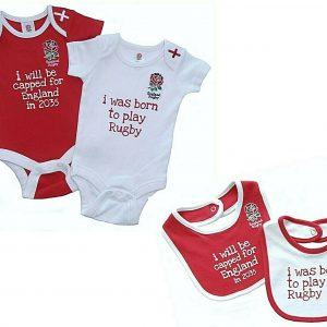 ENGLAND RFU SIX NATIONS RUGBY BABIES BODY PRAM SHORT SLEEVE BABY GROW VESTS