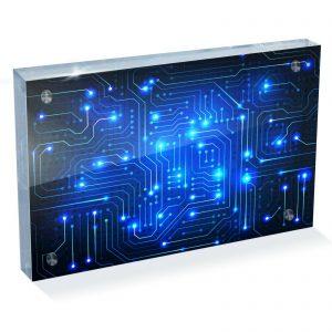 "Electronic Blue Circuit Photo Block 6 x 4"" - Desk Office Art Gift #8127"