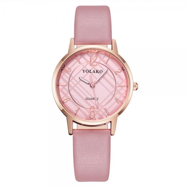 Elegant Women's Wrist Watch Rose Gold Case Leather Band Ladies Accessories