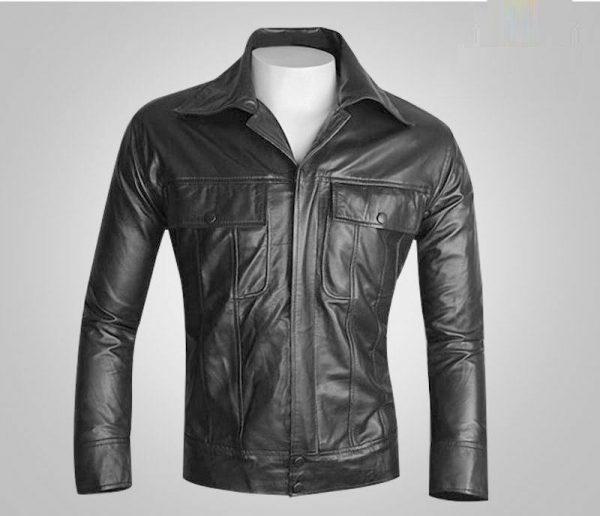 Elvis Men's Black Classic Real Soft Lambskin Leather Fashion Jacket