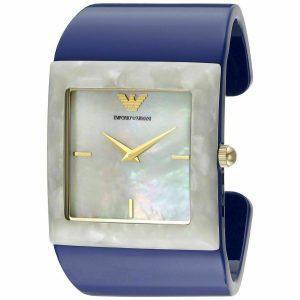 Emporio Armani Women's AR7396 'Donna Catwalk' Blue Plastic Cuff Watch
