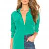Equipment Women's Slim Signature Silk Button Up Shirt, Garden Glow - Small