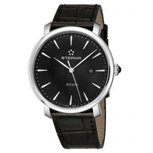 Eterna Women's Artena Black Dial Black Leather Quartz Watch 2510.41.41.1251