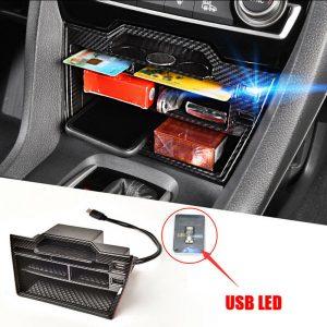 For Honda Civic 2016-2020 Car Accessories Interior Console Storage Box With USB