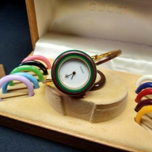 GUCCI Authentic Vintage 1100L Change Bezel Bangle Watch White Dial w/12 Bezels