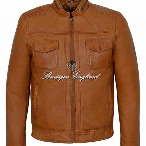 GUNNER Men's Biker Jacket Tan WAX Biker Style Casual FASHION 100% Leather 7861