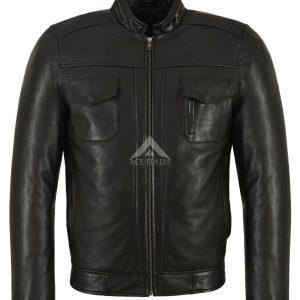 GUNNER Men's Black Leather Jacket Classic Fashion Biker Style Real Lambskin 7861