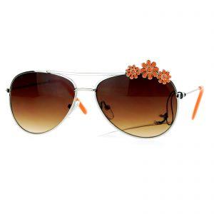 Girl's Floral Flower Daisy Aviator Sunglasses Kid's Fashion UV 400
