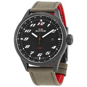Glycine Airman GMT Quartz Black Dial Men's Watch GL1007