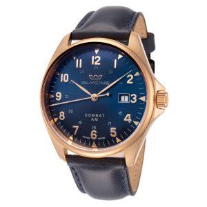 Glycine Men's GL0285 Combat 6 Classic Bronze 43mm Blue Dial Leather Watch