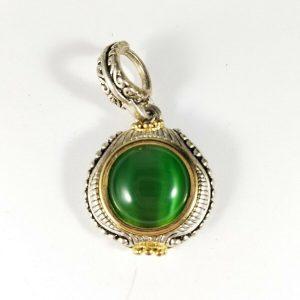 Green Silvertone Round Pendant Enhancer