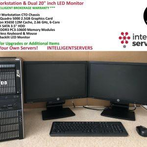 """HP Z600 Workstation, 2x X5650 6Core, 24GB, 1TB HDD, Quadro 5000, 2x 20"""" Monitors"""