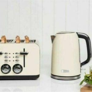 Haden Perth 1.7L Kettle & 4 Slice Toaster Set Kitchen Appliances - Cream