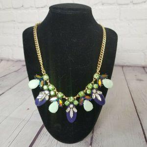 J Crew Statement Necklace Multi Color Rhinestone Gold Tone Chain Fashion Jewelry