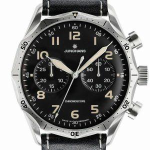 Junghans Meister Pilot Chronoscope Chronograph Automatic Black Dial Men's Watch