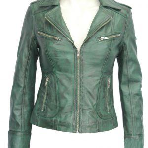 Kelly Ladies Women's Green Retro Fashion Model Designer Soft Leather Jacket New