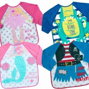Kids Babies Girls Boys Waterproof Long Sleeved Terry Cloth Towelling Apron Bib