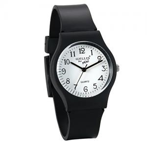 Kid's Watch Japan Quartz Time Teacher Wristwatch for Boys and Girls Black