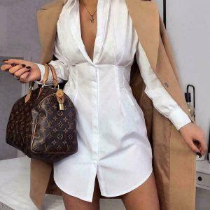 Ladies Women's Ruched Collar Button Up Fashion Work Long Shirt Dress UK