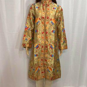 Latest Fashion Pakistani Fashion Silk Kashmiri Style Front Open Coat SALE USA