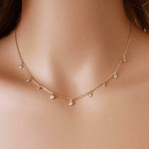 Latest Fashion Women Girls Jewelry CZ Crystal Link Chain Dangle Choker Necklace