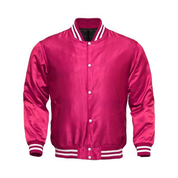 Letterman Baseball College Varsity Bomber Sports Wear Super Jacket Pink Satin