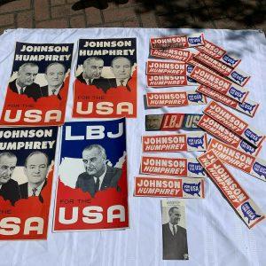 Lot Lyndon B. Johnson and Hubert Humphrey 1964 Campaign Posters Bumper Stickers