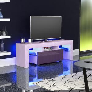 Luna LED TV Unit Cabinet Stand 1 Drawer Matte Gloss Furniture Off-White & Grey