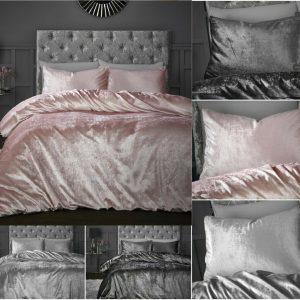 Luxury Crushed Sparkle Velvet Soft Duvet Cover Quilt Bedding Set +Pillow Cases