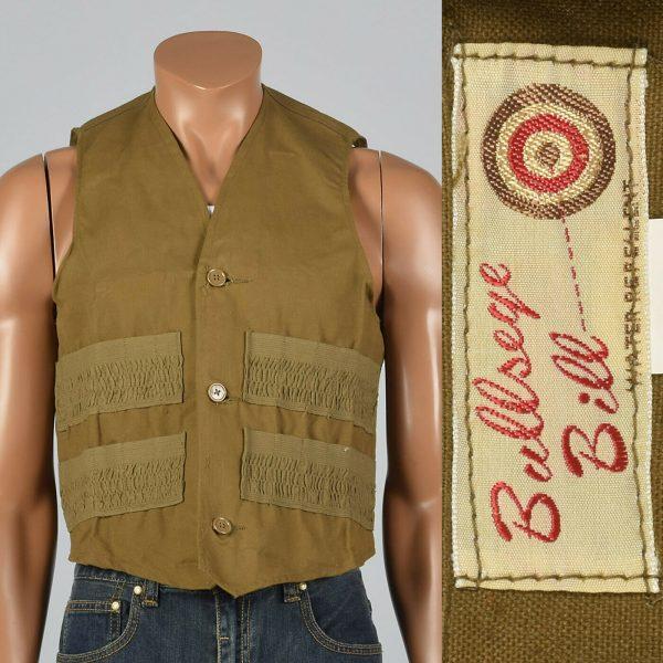M 1950s Mens Canvas Shooting Vest Bullseye Bill NOS Outdoor Wear Hunting 50s VTG