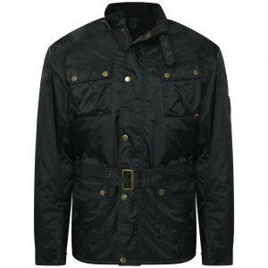 Men's Belted Fashion Jacket Biker Jacket Black Quilted Coat Made in UK Ken Black