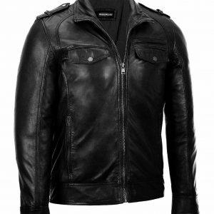 Men's Black Classic Fashion Biker Motorcycle Cafe Racer Genuine Leather Jacket